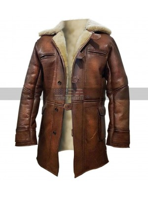 Tom Hardy Dark Knight Rises Fur Shearling Brown Leather Coat